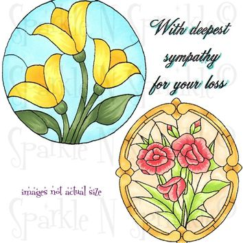 Stain Glass Rounds Rubber Stamp Set [00-719P7]