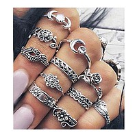 Midi Rings Set for Women Boho Chic Moon Flowers Rose Antique Silver Plated Rings