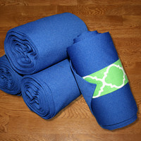 Equine Standing Wraps/Royal Blue Standing Wraps w/Green Quatrefoil Velcro Straps by Brax Designs