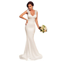 2015 New Fashion Summer Style Women Long  Dresses Sexy White Embroidered Lace Wedding Party Maxi  Dress LC60632