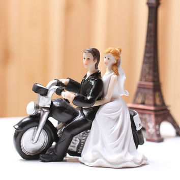 ew motorcycle love Wedding Cake Toppers Comical Couple Figure cheap Wedding Cake decorations