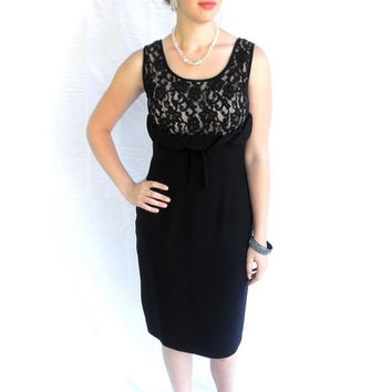 SEXY 60s Black Cocktail Dress with Peek A Boo Lace // Wiggle Dress // Made in California // Size Medium
