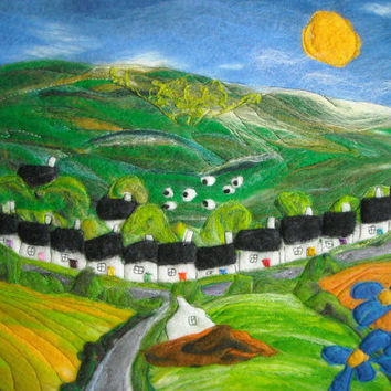 quirky abstract landscape, felt painting, felt picture