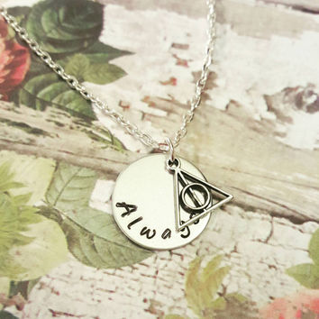 Always Harry Potter Necklace - Harry Potter Quote Necklace - Deathly Hallows Necklace