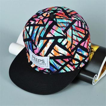 Patterned Adjustable Snapback Flat Brim Hats
