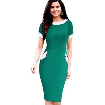 Plus Size Womens Casual Short Sleeve Solid Buttons Bodycon Dresses Elegant Office Ladies Round Neck Pencil Dress With Pocket 832