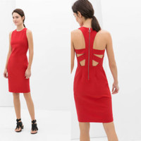 ZARA RED CUTOUT STRAPS ON BACK PENCIL BODYCON DRESS SIZE L LARGE