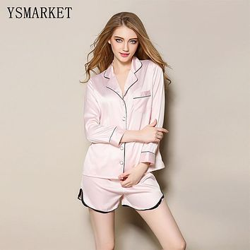 Spring New Two Piece Pajamas Women's Long Sleeve Tops + Shorts 2017 Plus Size Soft Casual Sleepwear Sexy Comfort Home Wear S6868