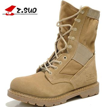 Genuine Leather Tactical Men's Combat Boots Desert Boots For Men Military Flat Suede Boots Stitching Canvas Botas Militares