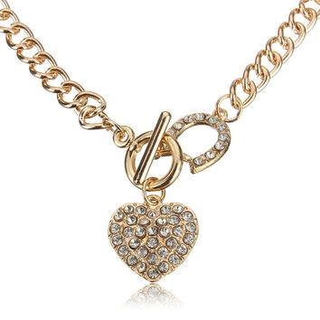 Sweet Women Necklace Gold Heart Rhinestone Wedding Necklace