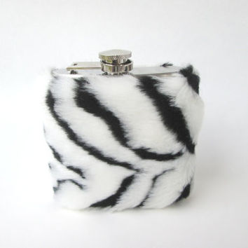 NEW Animal Zebra Print Furry Women Unique Flask Case, Fuzzy Cute 6 oz Flask, 21st Birthday, Bridesmaids, Flask Cover, Whiskeygirl Party Time
