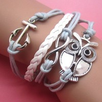 Owl and Infinity Leather Bracelet