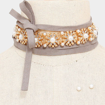 Gold & Cream Crystal Pearl Rosette Grey Suede Tie Choker Necklace