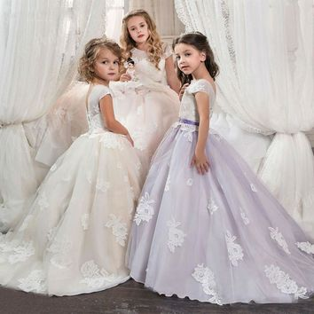 First Communion Dresses For Girls Ivory/Purple/Pink Ball Gown Lace Floor Length Flower Girl Dress Pageant Dress for Girls Glitz