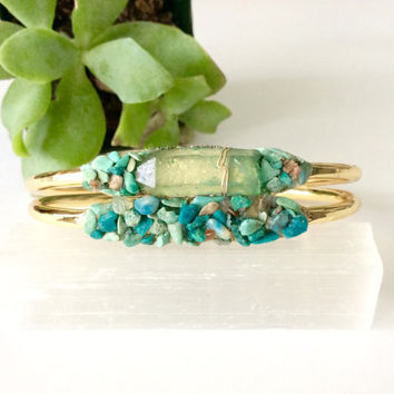 Raw Crystal Bracelet, Bridesmaid Gift, Raw Stone Bracelet, Turquoise Jewelry, Turquoise Bracelet, Rough Gemstone Cuff, Bridesmaid Gift