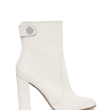 Gianvito Rossi White Patent Leather Ankle Bootie - Chunky Heel Boot