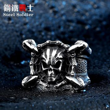 Steel soldier new style stainless steel dragon claw skull men ring fashion punk biker jewelry