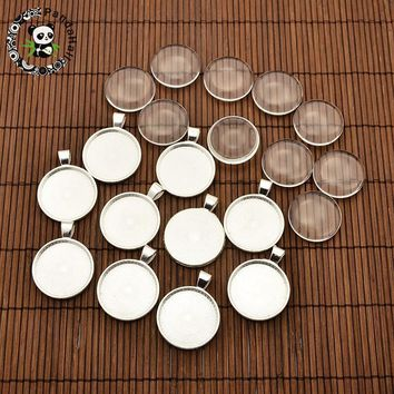 25mm Transparent Clear Domed Magnifying Glass Cabochon Cover for Alloy Photo Pendant Making, Cadmium Free & Lead Free & Nickel