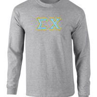 Sigma Chi Twill Letter Long Sleeve Tee