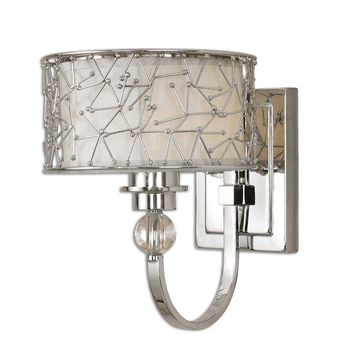 Brandon 1 Light Nickel Plated Wall Sconce By Uttermost