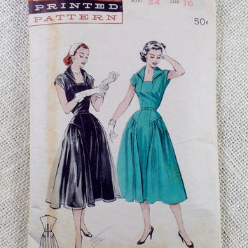 Vintage Pattern Butterick 6538 new look Full skirt Rockabilly 1950s Bust 34 wing collar dress Fit and Flare drop waist Hip Bombshell