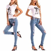 Skinny Denim Floral Stylish Jeans Casual Holes Denim Pants