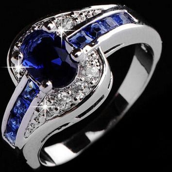 SIZE 789 Beautiful pretty fashion Wedding ring Party White gold color silver plated NICE women crystal Lady Ring jewelry
