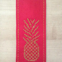 Red fabric bookmark Handmade bookmark Cross stitch bookmark Pineapple bookmark Golden pineapple