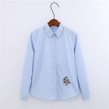 Women Fashion Elegant Floral Embroidery Women Blouses Pocket Button Turn-down Collar Blouse Long Sleeve Casual Shirt Women Tops