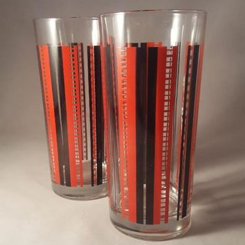 Italian Red And Black Tom Collins/Highball Glasses