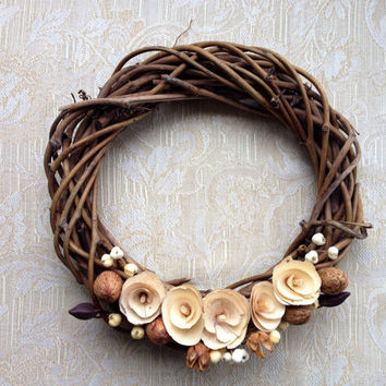 12 Rusic Flower Wreath - Home decor, Wedding Decor, Shabby Chic, Woodland, Rustic, Barn, Wood