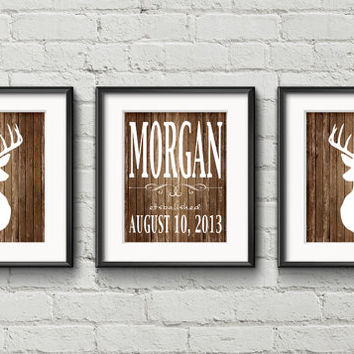 White Deer With Antlers Silhouette On Rustic Aged Wood Family Name Monogram House Warming Gift - Art Print Rustic Gift Item Home Decor