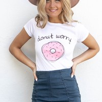 Donut Worry White Top