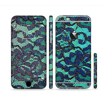 The Blue & Teal Lace Texture Sectioned Skin Series for the Apple iPhone 6s Plus