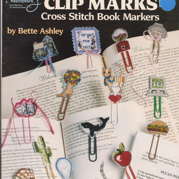 Clip Marks cross stitch book markers booklet 30 designs for making bookmarks with paper clips + 8 x 11 sheet of 14 ct plastic mesh canvas