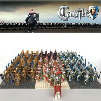 NEW 21pcs/lot Castle Kingdoms Dragon Knight Scale Mail Green Plume Blue Lion Knight Rome solider compatible legoe MINI TOY fig