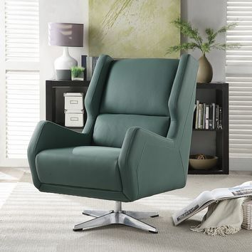 Acme 59737 Eudora green leather gel retro mid century modern swivel accent chair