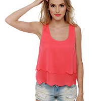 Cute Coral Tank Top - Sleeveless Top-lulus.com