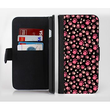 The Cut Pink Paw Prints Ink-Fuzed Leather Folding Wallet Credit-Card Case for the Apple iPhone 6/6s, 6/6s Plus, 5/5s and 5c
