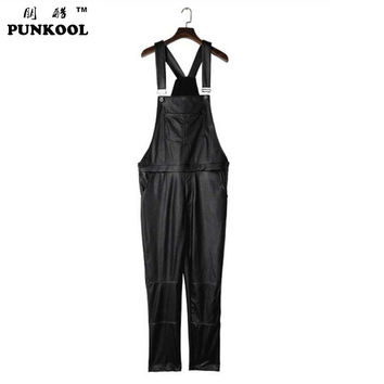 Male Pants Print Jumpsuit Long Straight Design PU Pant