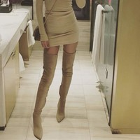 Women Long Stretch Slim Thigh High Fashion Over the Knee High Heels Boots