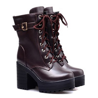 Buckle Designed Lace Up Boots With Chunky Heel