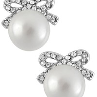 Betsey Johnson Earrings, Silver-Tone Crystal Bow Imitation Pearl Stud Earrings - Juniors Jewelry & Watches - Macy's
