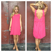 Fuschia Sleeveless Bow Dress