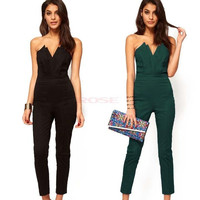 Sexy Lady's Office Style Off-shoulder V-neck Backless Slim Jumpsuit Cocktail Party Clubwear [7955281799]