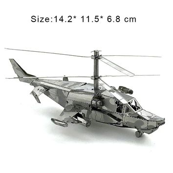 3D Metal Puzzles Model Silver KA-50 Armed Helicopter Manually Jigsaw Educational Toys Adult Friend Children Birthday Gifts