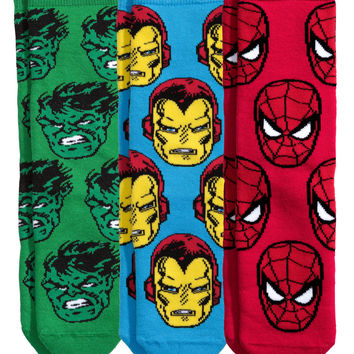 H&M - 3-pack Socks - Red/Marvel Comics - Kids