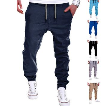Men's Pants Solid Color Elastic Cross Sweatpants Breathable Casual Thin Boy Trousers Long Pants  -MX8