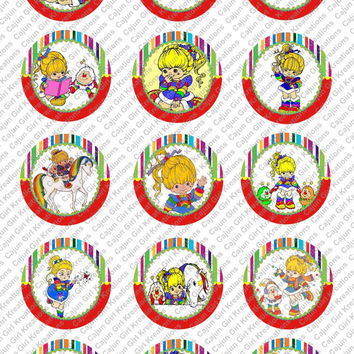 """Red Rainbow Brite 1"""" Round Circles Bottle Cap Images Cupcake Toppers Instant Download Digital Emailed 4x6"""