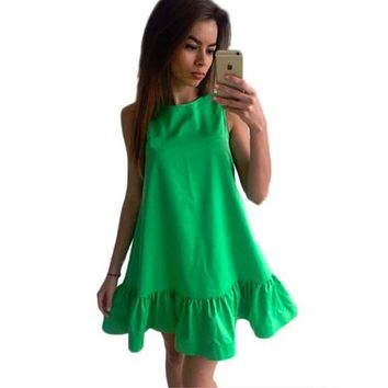 Summer dress Solid sleeveless A-line Beach Casual dress o-neck loose Women Dress above knee mini Ruffles dresses 2017 SLD57